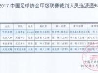 裁判员选派:中超19轮、中甲补赛、中乙16轮裁判员选派
